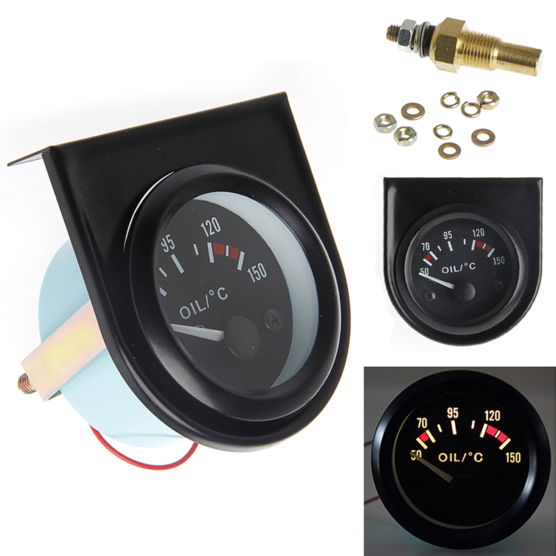 Prix pour 1 set 52mm LED Lumière De Voiture Pointeur Température de L'huile Temp Gauge 50-150 Degrés