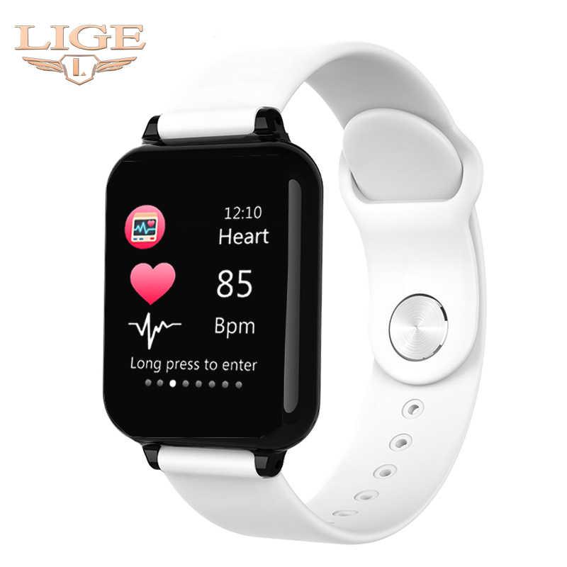 2019 yeni kadın akıllı saat su geçirmez spor Iphone telefon için akıllı bilezik nabız monitörü kan basıncı fonksiyonları çocuk için