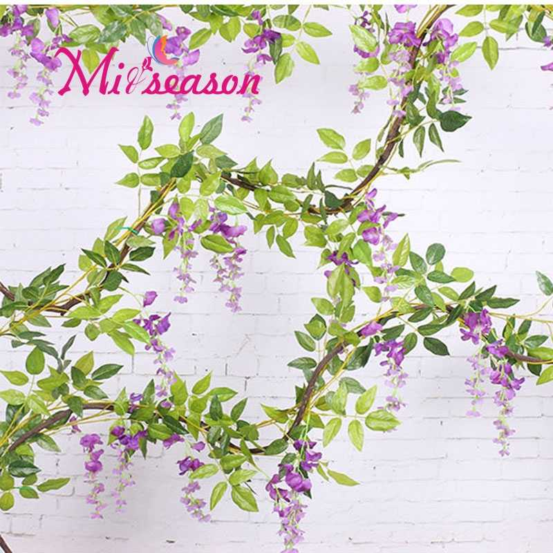 2M long wisteria flower rattan Artificial silk bean floral vine wedding flower decoration for home pipe background shop window
