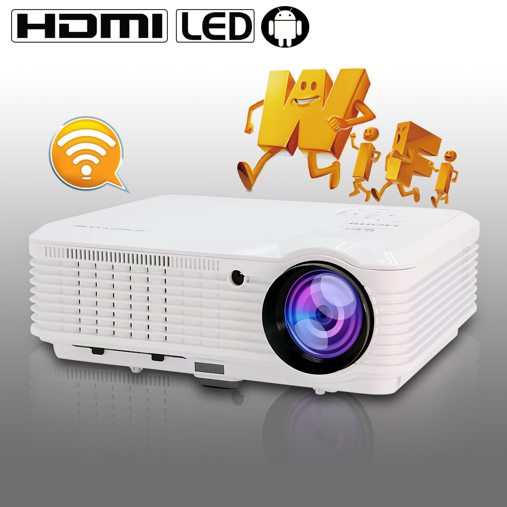 CAIWEI 2017 New Projector full HD support 4200 Lumens LCD Projector WiFi Android TV Led projector Video home movie theater 2016 new dlp wifi 5600 lumens 4k android 4 4 home theater projector full hd 1080p digital video led mini projector