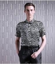 Blockbuster mulberry silk silk satin men's short sleeve shirt design and color