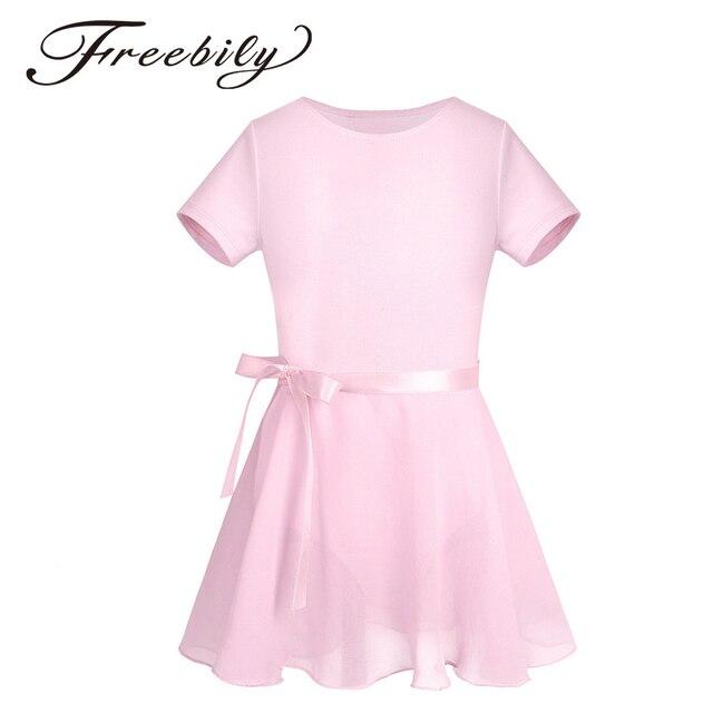488fe885898a Kid Girls Cotton Short Sleeves Ballet Dress Beautiful Ballet Dance ...