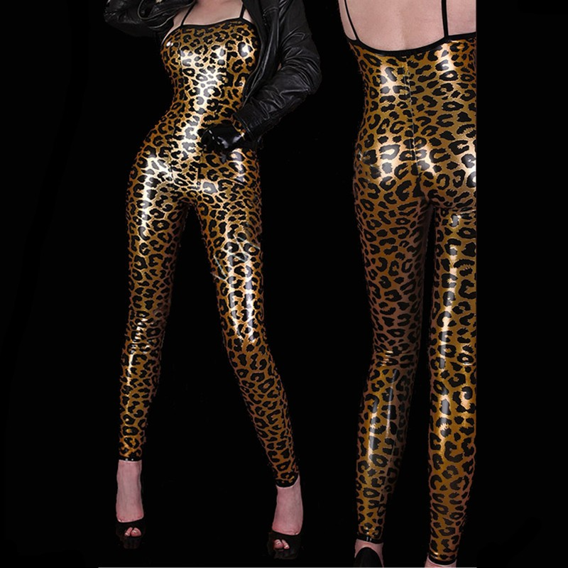 Hot Sexy Golden Leopard Print Jumpsuits Straps Sleeveless PVC Leopard Leather Costume Women Catsuit Pole Dance Clothing