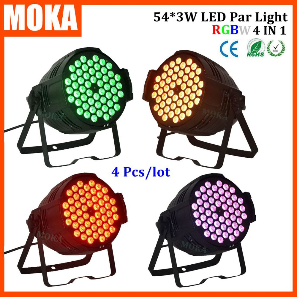 4pcs/lot 2016 Led Par Light 54*3w China Disco Lights Dmx Rgbw 4in1 Party Lights For Dj Club Stage Events