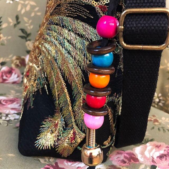 Veowalk Shiny Sequins Peacock Embroidered Women Canvas Totes Bag, Summer Shopping Shoulder Bag Vintage Beaded String Handbag 6