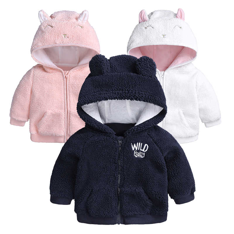 850940dfa Cute Baby Clothes Girl Jacket Coat Autumn Winter Flannel Warm Boys  Outerwear Children Newborn Hooded Baby