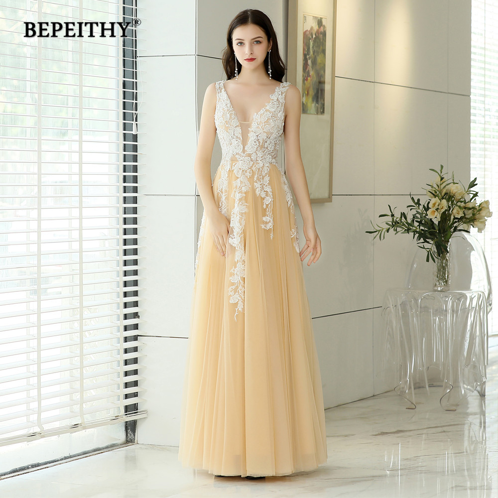 b133fd204ed BEPEITHY vestidos De noche largo cuello en V Champagne Tulle encaje vestido  De baile Robe De Soiree Sexy Backless vestido De noche 2019