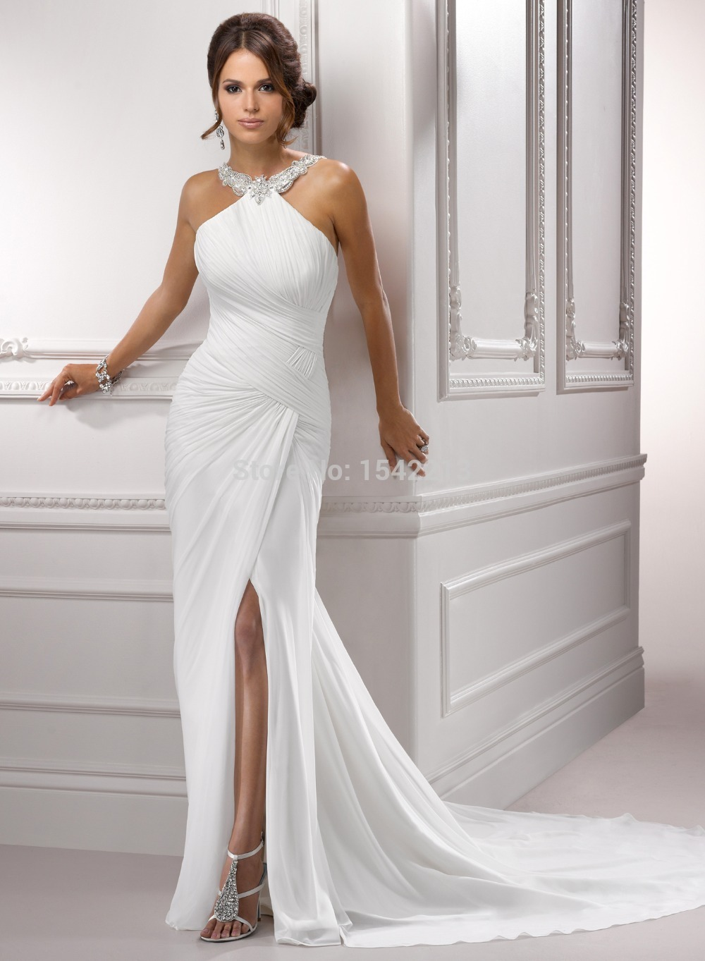16bbb246189c2 2017 Slip Side Halter High Quality Backless Chiffon Summer Beach Wedding  Dress Mermaid Style Bridal Gowns Vestido De Renda-in Wedding Dresses from  Weddings ...