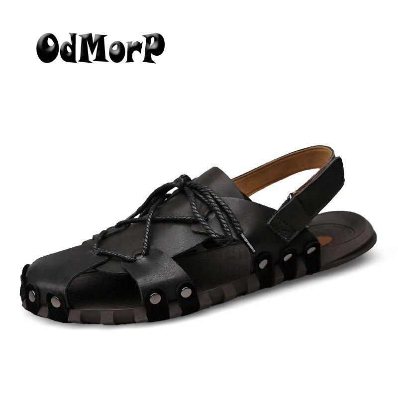 ODMORP Summer Shoes Men Sandals Split Leather Men Beach Sandals Men Casual Shoes Summer Fashion Slippers Big Size 38-46
