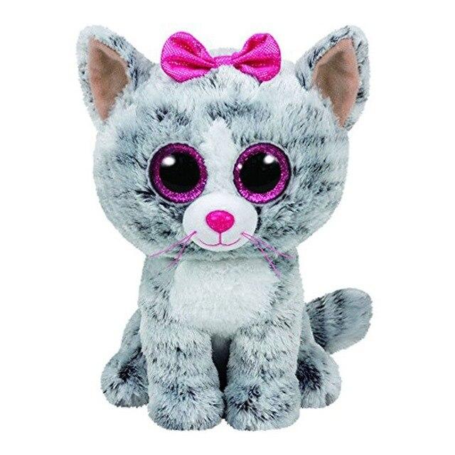 Ty Beanie Боос серый Кот плюшевые игрушки куклы для маленьких девочек подарок на день рождения мягкие и плюшевые Животные 15 см большие глаза Наб...