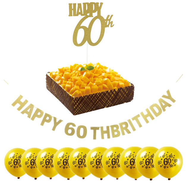 Gold Black Silver Glitter Happy 60th Birthday Banner Popular Sixty Party Decor 60