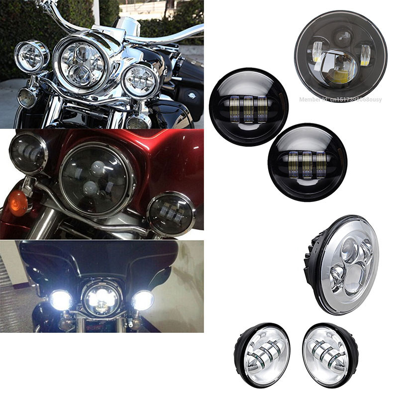 4.5 INCH led fog light passing lamps + Harley Daymaker 7'' Round led headlamp H4 High/Low beam for Motorcycle harley Davidson 7 inch headlight h4 motorcycle round led headlamp daymaker hi low beam head light bulb drl for harley jeep wrangler