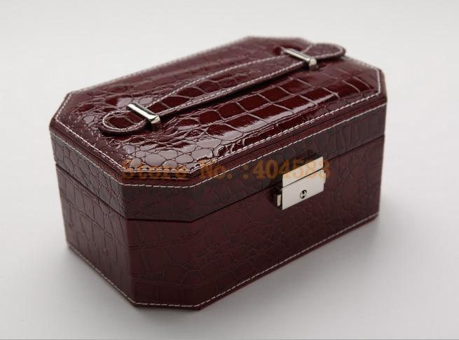 Creative portable upscale leather jewelry box octagon Korean jewelry