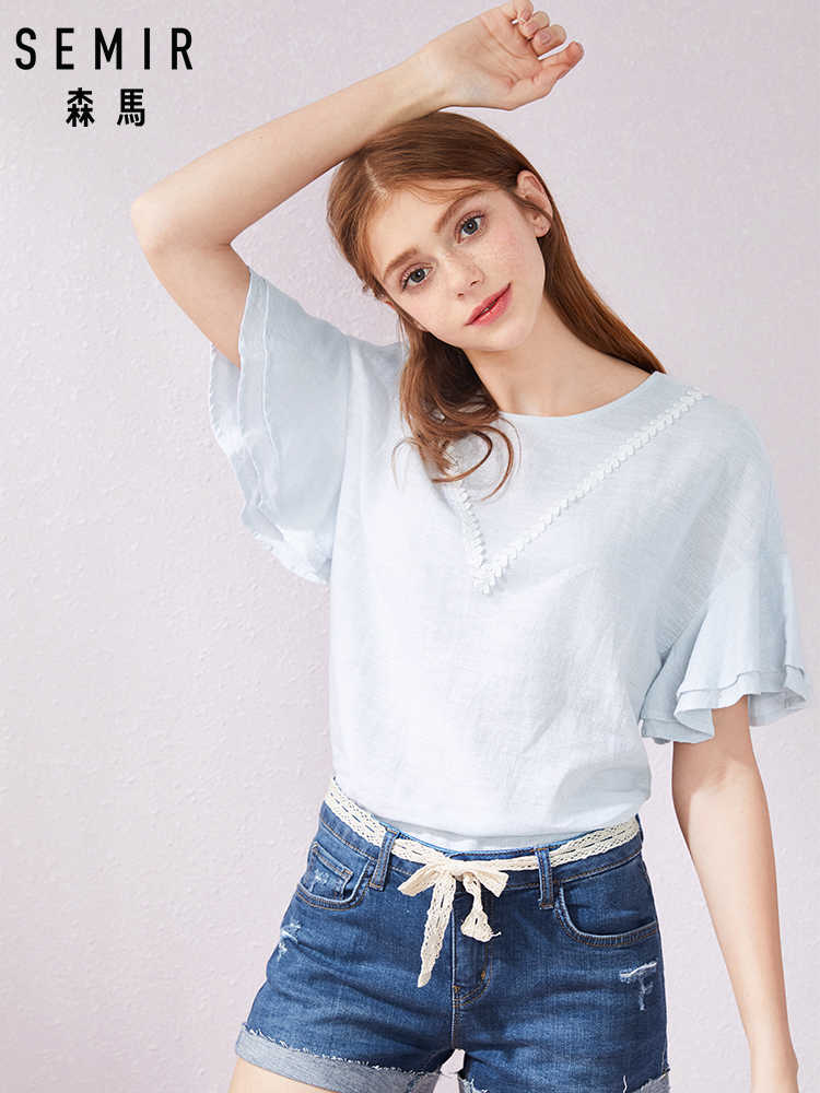SEMIR new fashion women printed vintage blouse shirts female high street criss-cross o neck blouses tops shirt