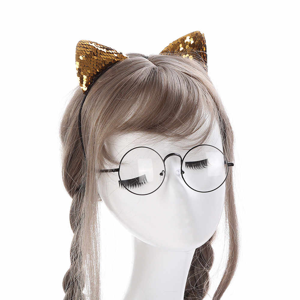 帽子女性かわいいヘアアクセサリー女性スパンコール猫耳ヘッドチェーンジュエリーピースヘアバンド休日ヘッドヘッドバンド