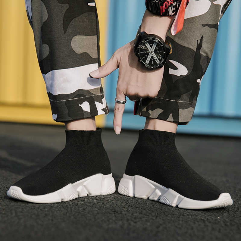SHANTA Merk Mannen Sneakers Beathable Mesh Mannelijke Casual Schoenen Slip op Sok Schoenen Jongens Sneakers Licht Hoge Top Mannen Schoenen