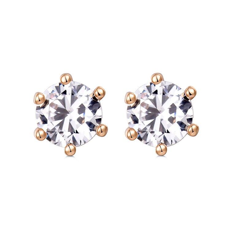 Женские серьги-гвоздики с фианитами, золотистые серьги с фианитами, Ювелирное Украшение, 11E18K-14, 2020