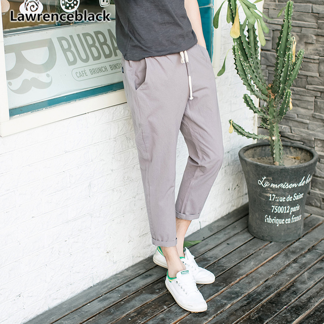Lawrenceblack Cropped Pants Men 2018 Summer Cotton Casual Trousers
