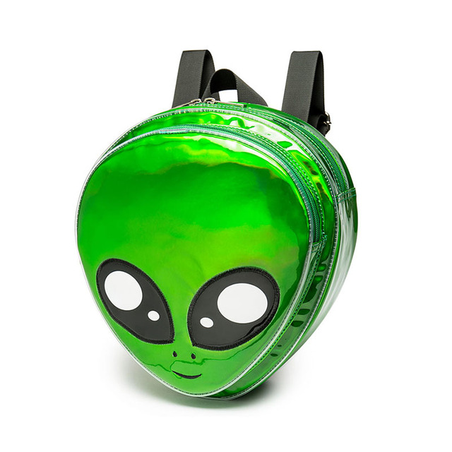 2018 New Cute Alien Backpack Green Laser S School Bag For Agers Women Harajuku Style