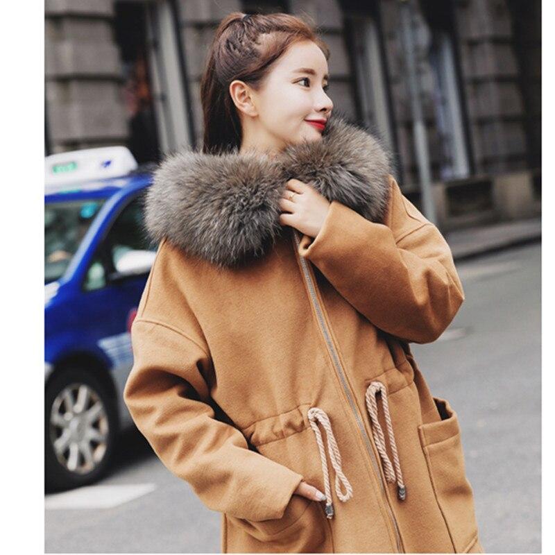 Manches Outwear Longues Long Femmes caramel En Colour Automne Femelle Laine 2019 Hiver Taille Manteau Lâche Grande Décontracté De Gray Moyen À Vestes RxnqZ
