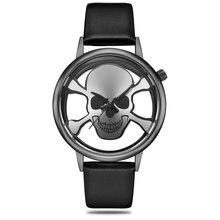 2018 Nya Skelett Skull Män Klockor Kvinnor Berömda Unika Design Läder Lyx Märke Sport Lady Unisex Quartz WristWatch Relogio