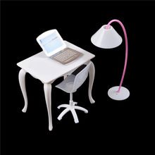 kawaii Children Toy girl play house furniture Chair Study Desk/Computer PC Table With Lamp Dollhouse Miniature doll(China)