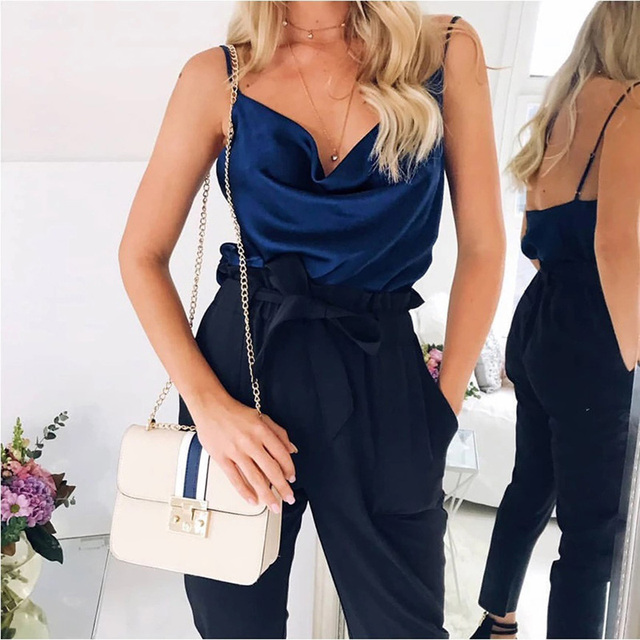 Blouse Women Tops Solid Satin Backless Sexy Camis Shirts Feminino Casual