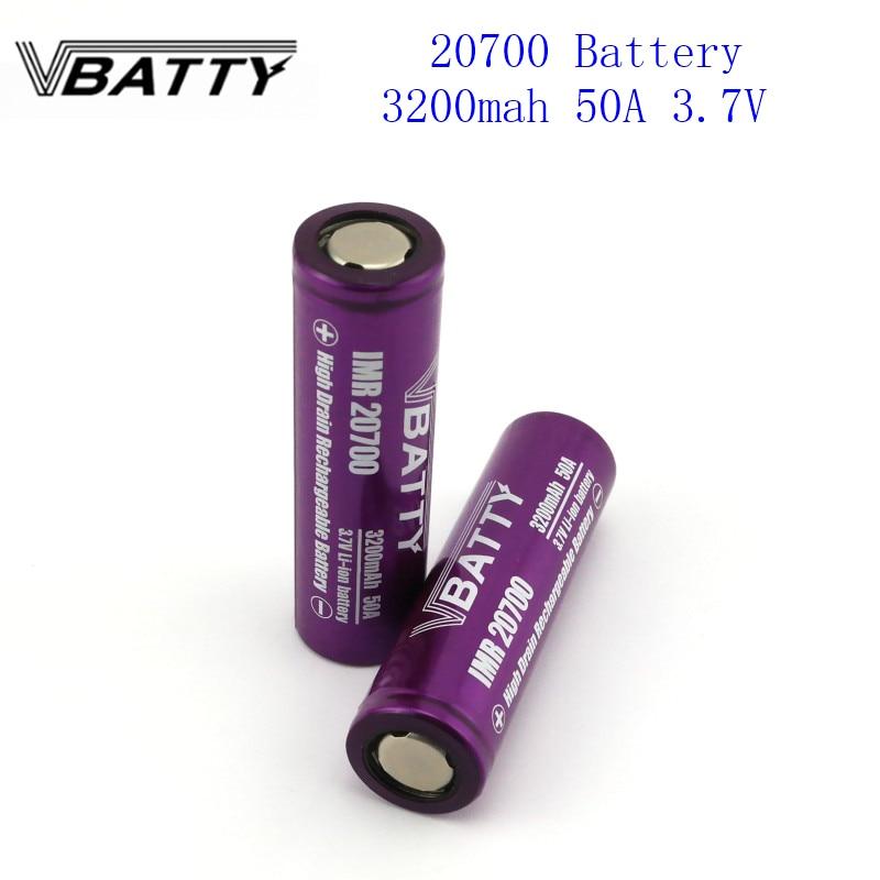 1pc/lot 20700 Battery 3200mah 50A 3.7V Li-ion Rechargeable Battery High Drain 50A 20700 Battery