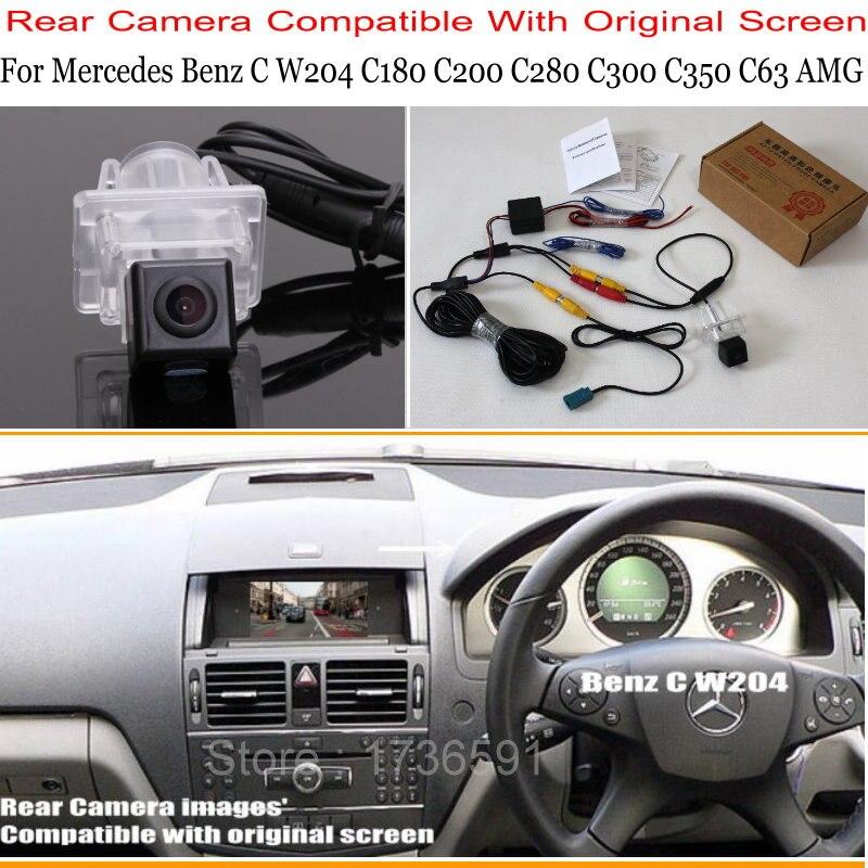 עבור מרצדס בנץ C Class W204 C180 C200 C280 C300 C350 C63/RCA & מקורי מסך תואם סטי הפוך מבט אחורי מצלמה-במצלמת רכב מתוך רכבים ואופנועים באתר