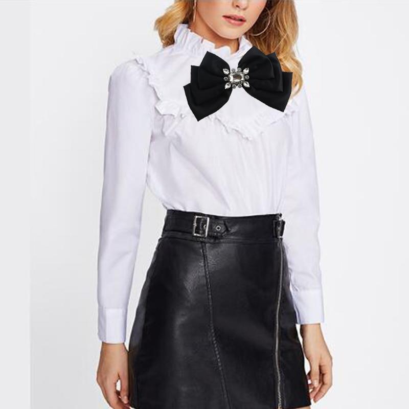 ree Shipping Fashion Casual Female Retro British Wind Big Bow Tie Woman Inlaid Brooch Striped Cloth Dress
