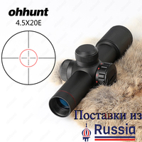 Ohhunt 4 5x20E Compact Hunting Rifle Scope Red Illuminated Glass Etched Reticle Riflescope With Flip Open