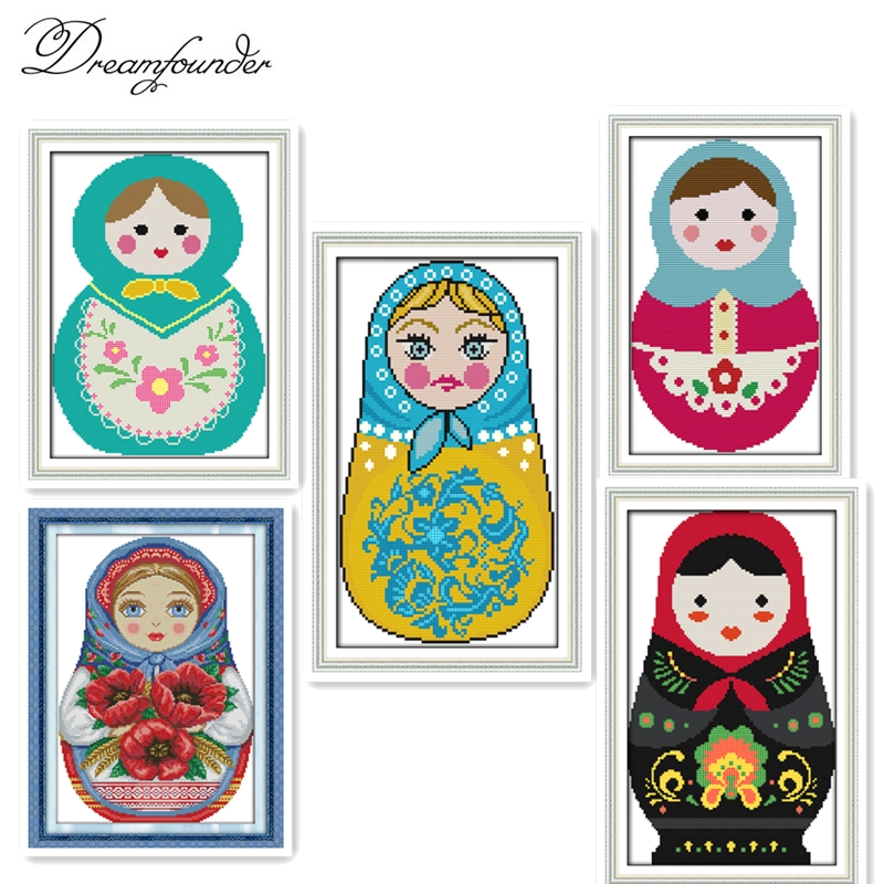 Arts,crafts & Sewing Russian Dolls Embroidery Floss Chinese Counted Cross Stitch Patterns 11ct 14ct Dmc Cross Stitch Kits For Embroidery Cross Crafts