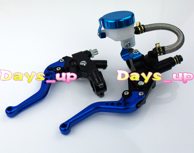 "Universal 7/8 inch"" 22mm Front Master Cylinder Brake Clutch Levers for Sport Street Bike,blue Motorcycle Levers"""