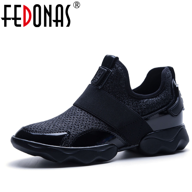 FEDONAS Brand Women Shoes 2018 Genuine Leather+Mesh Casual Shoes Woman Flats Ladies Sport Sneakers Platform Student Shoes instantarts cute poodle dog pattern sneakers women s casual flats air mesh walking shoes ladies student outside shoes zapatos