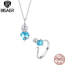 BISAER Fashion Blue Crystal Cute Kitty 925 Sterling Silver Jewelry Sets For Women Wedding Party Jewerly Gift 2pcs Jewelry Sets(China)
