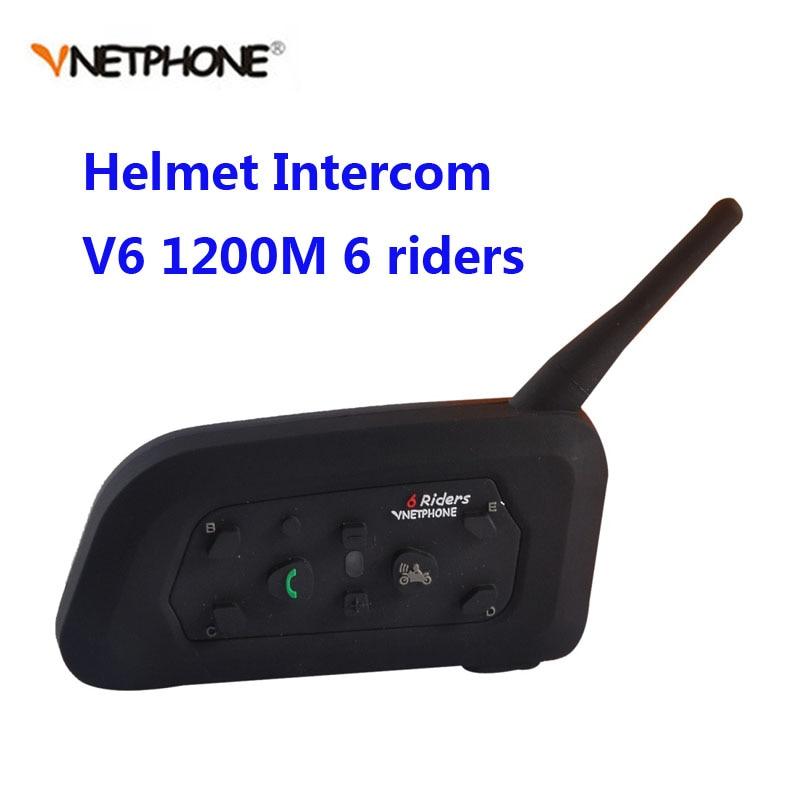 Vnetphone V6 Motorcycle Bluetooth 1200M Helmet Intercom Full Duplex for 6 riders BT Wireless motocicleta Interphone