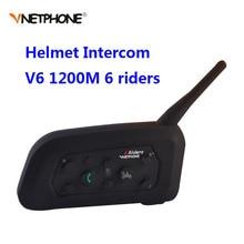 خوذة Vnetphone V6 للدراجات النارية مزودة بتقنية البلوتوث 1200 متر نظام اتصال داخلي كامل دوبلكس لراكبي 6 راكبين سماعة رأس لاسلكية للدراجات النارية