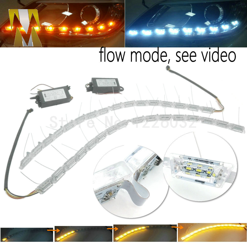 New 2 Pcs Car LED Daytime Running Light Turn Signal Light Flowing yellow steady Auto flexible Styling strip Crystal led bar DRL 2pcs 12v car drl led daytime running light flexible tube strip style tear strip car led bar headlight turn signal light parking