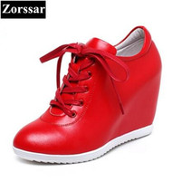Zorssar 2017 Womens Genuine Leather Platform Shoes Wedges High Heels Pumps Women Height Increasing Shoes