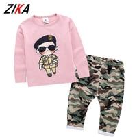 ZiKa Kids Clothes 2017 Baby Boys Girls T Shirts And Camouflage Pants Set Korean Fashion Children