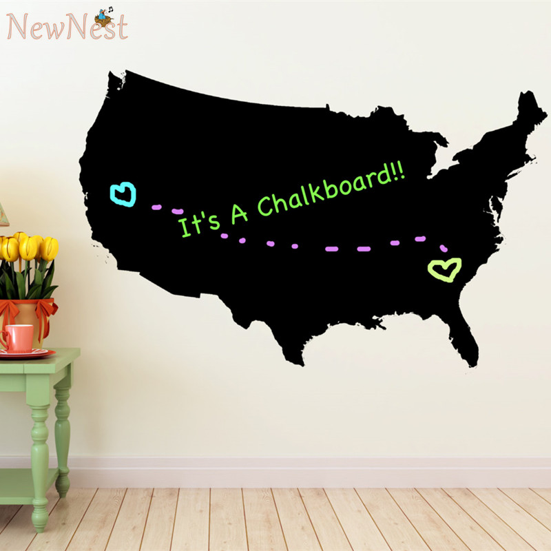 United States Map Chalkboard Vinyl Wall Decals Childs Writing - Us map chalkboard