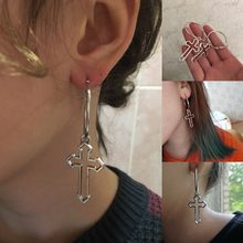 Fashion Punk Cross Dangle Earrings for Women Harajuku Vintage Big Statement Earrings Korean Ear Jewelry Girls Gifts Brincos(China)