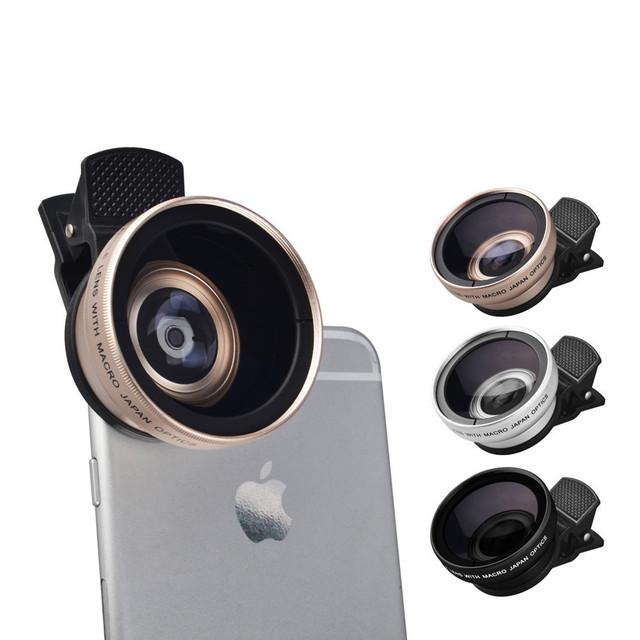 Teléfono Cámara Kit 2in1 HD 37mm 0.45X Lentes Super Gran Angular 12.5x lente macro para iphone 6 6 s 7 samsung htc lg