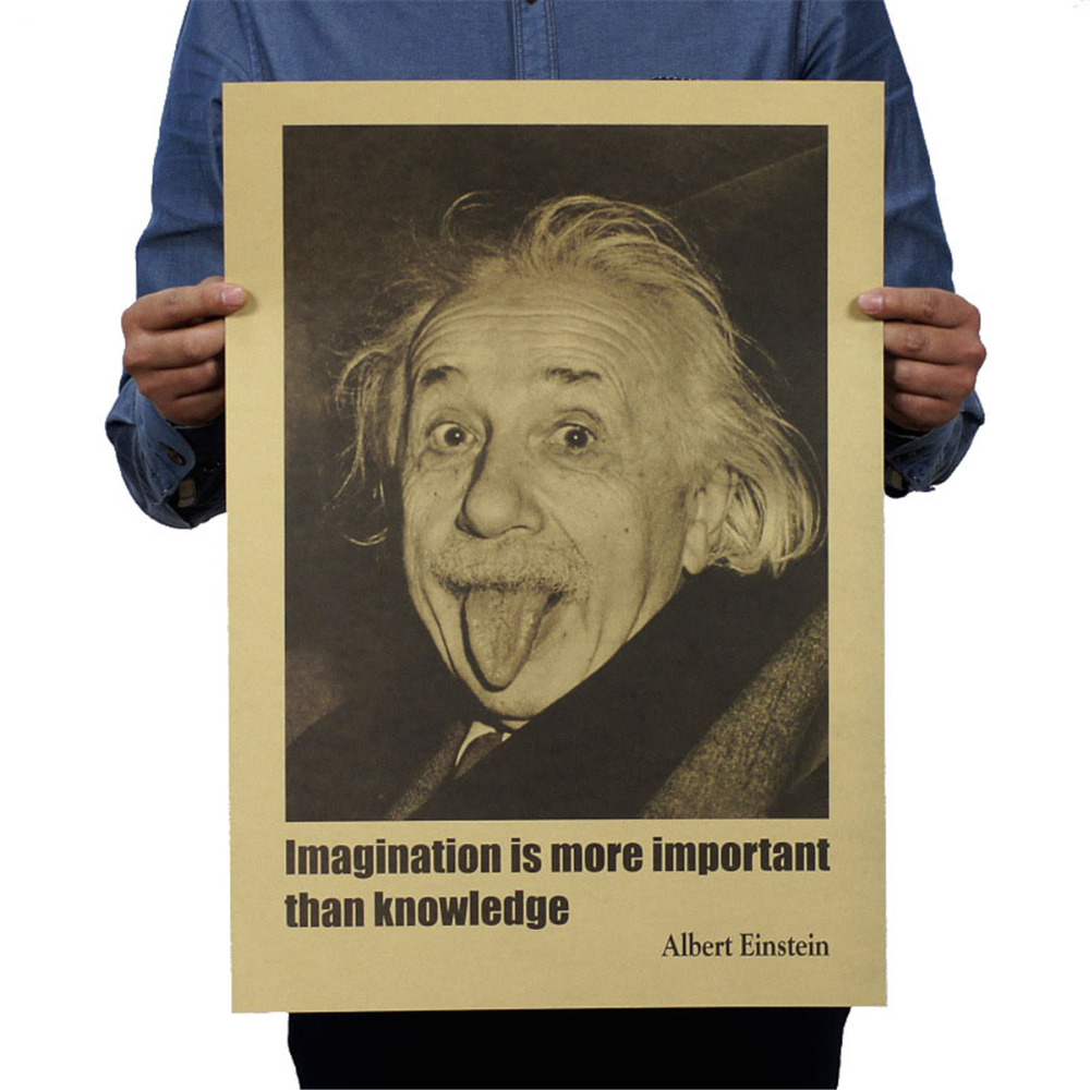 Adaptable Albert Einstein Poster Imagination Is More Important Than Knowledge Wall Sticker Wallpaper Home Bedroom Library Decoration Home Decor