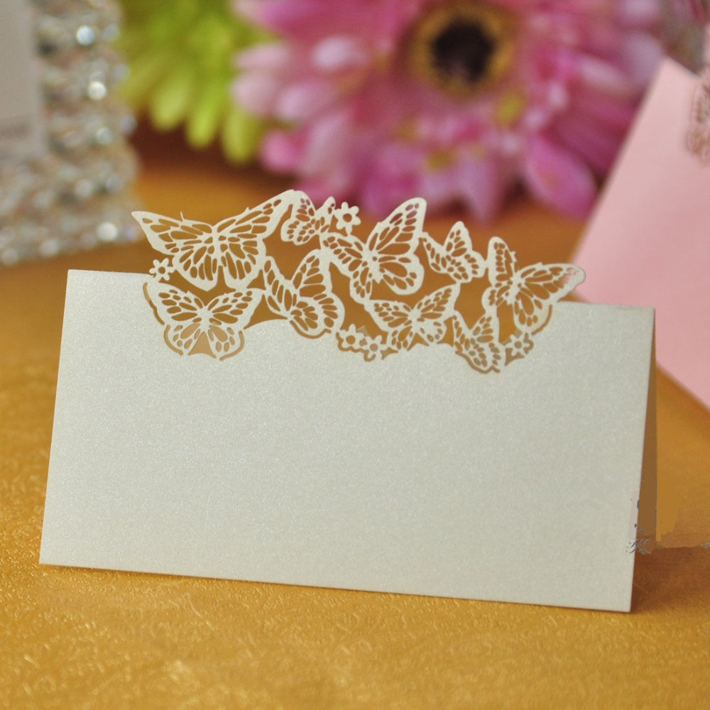50pcs Laser Cut Butterfly Table Name Place Card Recycled Paper For Wedding Birthday Christmas Party Favors Table Decorations