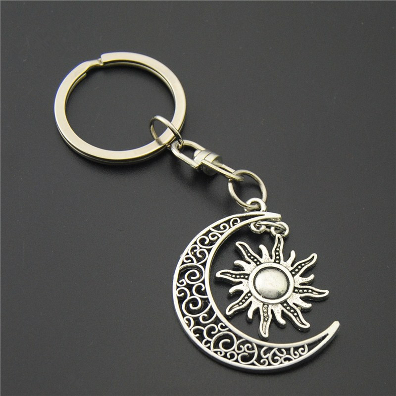 1pc Anitue Silver Sun And Moon Charms Heart Keychains Symbol Mercurial  Staff With Wing Snake Keyring Diy Handmade-in Key Chains from Jewelry    Accessories ... 723826547