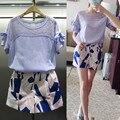 Europa 2015 novo verão moda casual terno fino fêmea magro impresso shorts conjunto de duas peças