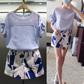 Europe 2015 new summer fashion casual suit slim slim female printed shorts two piece set