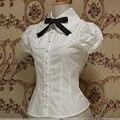 Plus size escritório mulheres verão tops de manga curta lace branco gothic lolita blusa cosplay feminino camisas