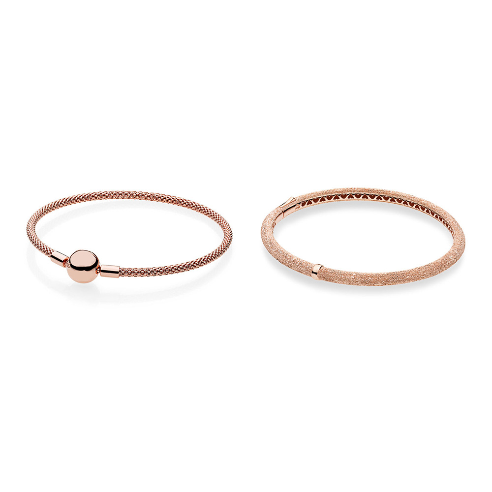 925 Bracelets en argent Sterling faits à la main Flash sable or Rose couleur de base Bracelets pour femme perles et pendentif bijoux 16-21 CM